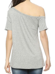 Women's Grey Off Shoulder Love Tee