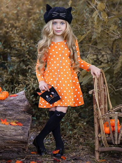 Girls Polka Dot Long Sleeve Side Pocket Dress with Matching Cross Body Purse