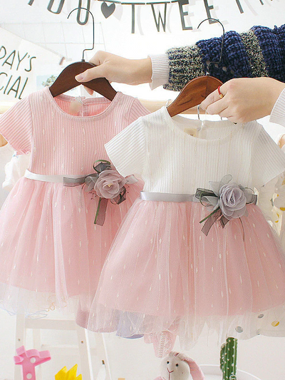 Baby Spring dress has a tulle overlay and a satin belt with a flower applique Pink-White