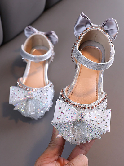 Girls Glitter Bow Princess Slip-On Flats Shoes By Liv and Mia
