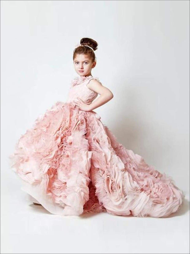 Communion Sleeveless Ruffle Square Collar Train Flower Girl Dress - Girls Gown