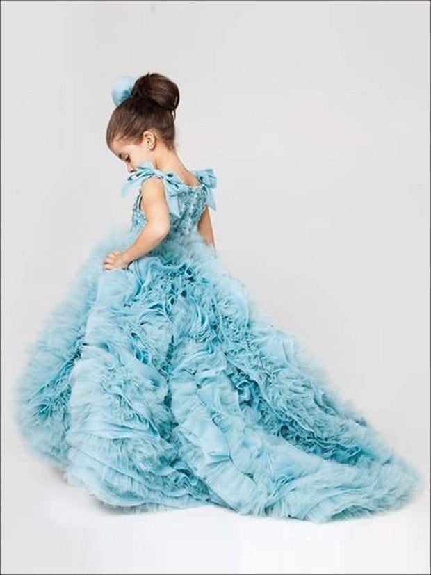 Communion Sleeveless Ruffle Square Collar Train Flower Girl Dress - Light blue / 2T - Girls Gown