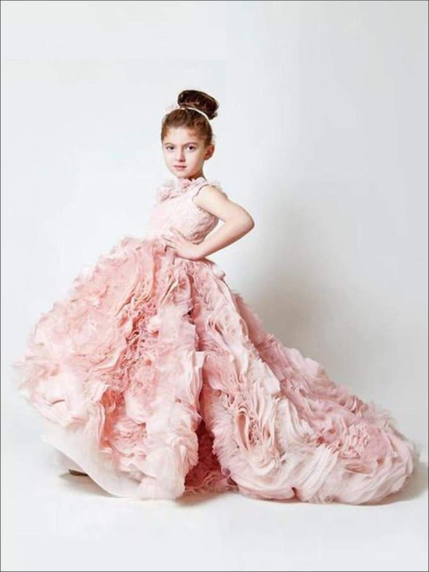 Communion Sleeveless Ruffle Square Collar Train Flower Girl Dress - Pink / 2T - Girls Gown