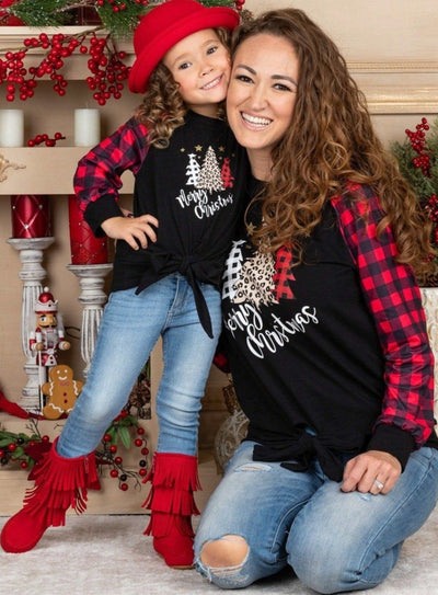 "Mommy and Me ""Merry Christmas"" Plaid Knot Top"