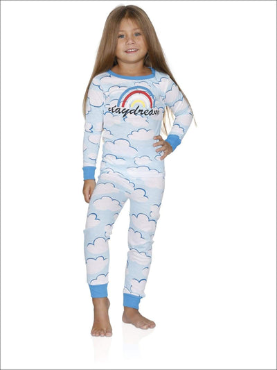 Cozy Couture Big Girls Daydream Blue Cotton Pajamas