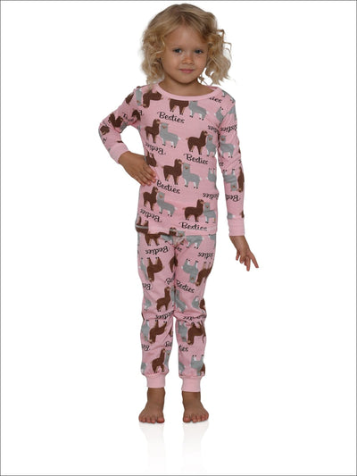 Cozy Couture Big Girls Llama Besties Pink Cotton Pajamas