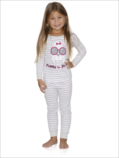Cozy Couture Big Girls Pretty in Pink Gray Striped Cotton Pajamas