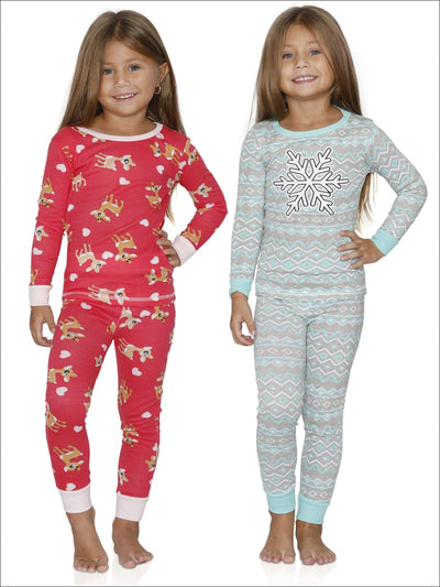 Cozy Couture Girls 4 Piece Reindeer with Hearts And Snow Flake Cotton Pajamas