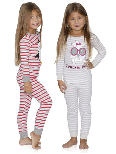 Cozy Couture Girls Pretty in Pink and Penguin Cotton Pajamas