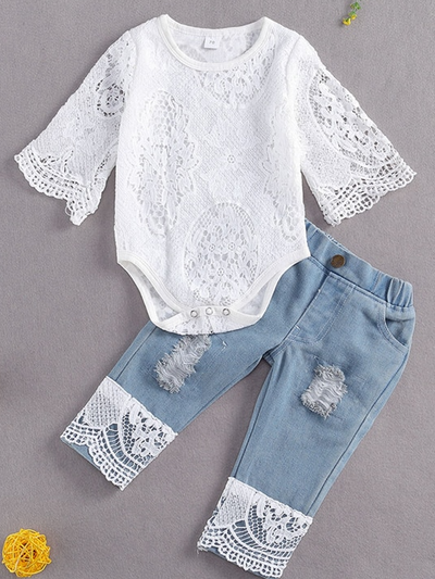 Baby set features a kimono lace onesie with distressed jeans with lacey hem