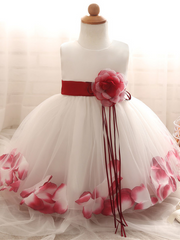 Baby Dress with Flower pedal hem and belt with flower applique burgundy