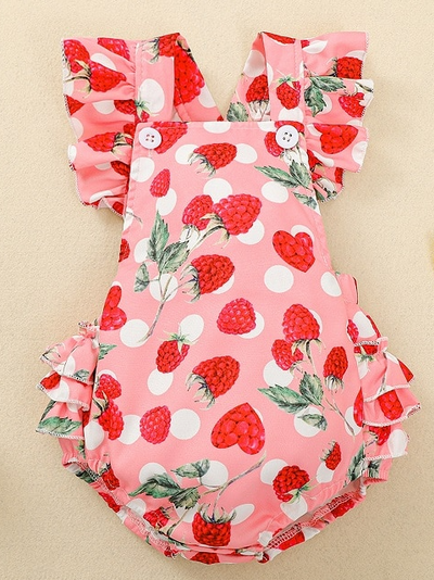 Baby pink onesie with strawberry print and a ruffled bum. Cute little ruffles on shoulder and buttons for easy slip on
