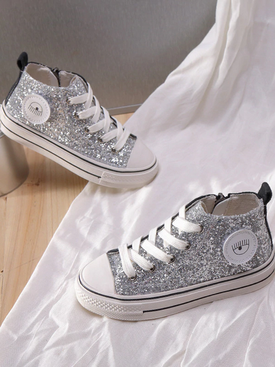 Girls High Top Sparkle Glitter Sneakers By Liv and Mia