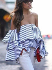 Women's Striped Ruffled Sleeve Open Shoulder Blouse
