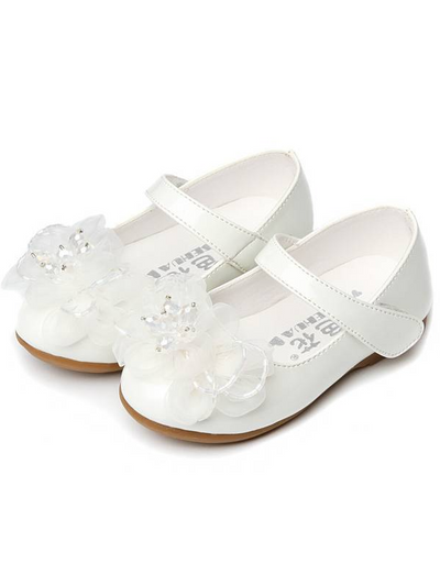 Girls Little Flower Vegan Patent Leather Flats By Liv and Mia