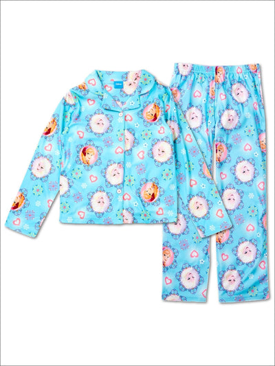 Disney Frozen Anna and Elsa Girls MicroFleece 2-Piece Pajama