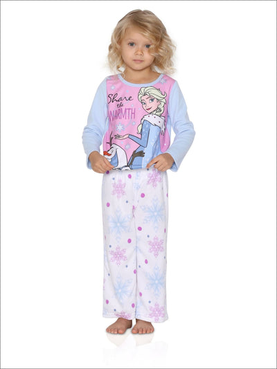 Disney Frozen Elsa 2-Piece Girls Fleece Pajama Set Winter Warmth
