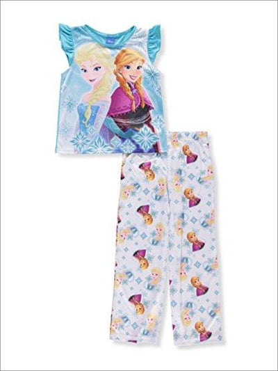 Disney Frozen Girls Elsa and Anna 2-Piece Pajamas - Ice Blue/Multi
