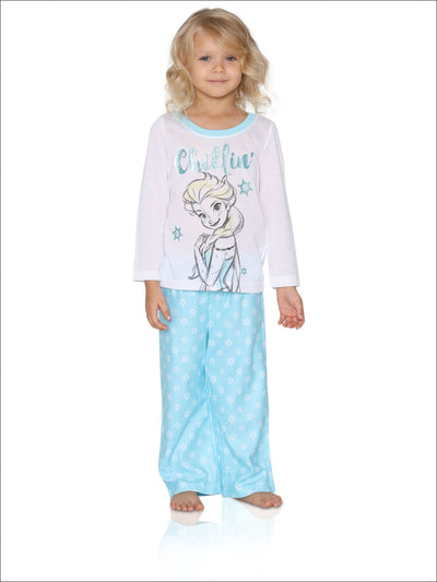 Disney Girls Little Frozen 2-Piece Pajama Set Blue Chill - 6