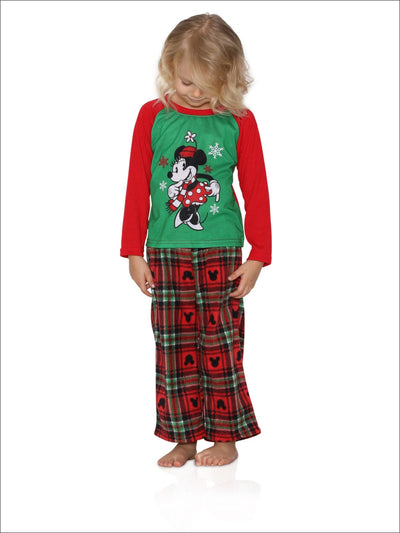 Disney Minnie Plaid Little Girls Pajama Set