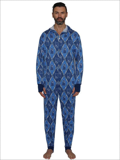 Doctor Who Hooded All over Tardis Union Suit Pajama Onesie Pajama - 2X / Blue