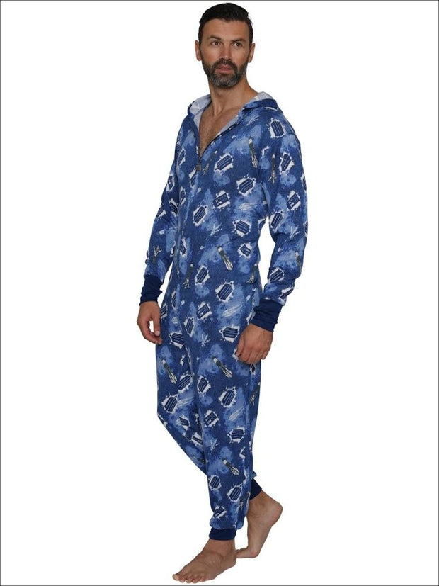 Doctor Who Hooded Galaxy Sonic Screwdriver Lounger Union Suit Onesie Pajama - S/M / Blue
