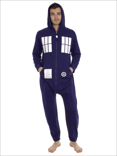 Doctor Who Tardis Union Suit Lounger Onesie Pajama - L / Blue