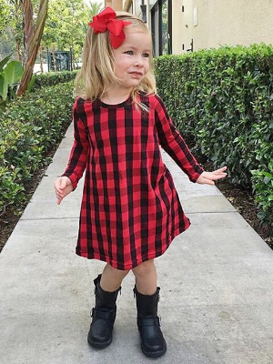 Girls Red Hi-Low Plaid Long Sleeve Tunic Dress