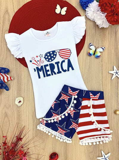 "Girls 4th of July Themed ""'Merica"" Flutter Sleeve Top & American Flag Print Pom Pom Shorts Set"