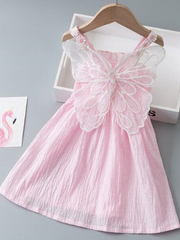 The dress has a stretchy bodice and daisy straps and little fairy wings on the back pink
