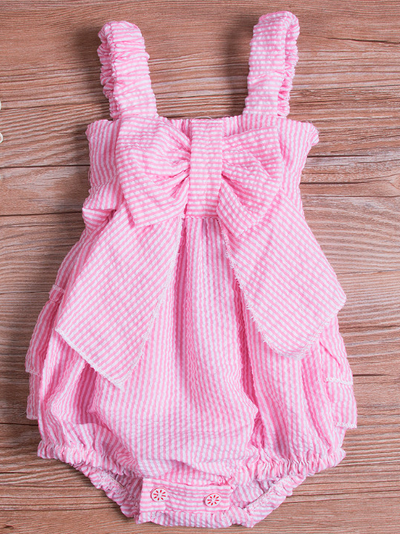 Baby Cute Bows and Ruffles Striped Onesie