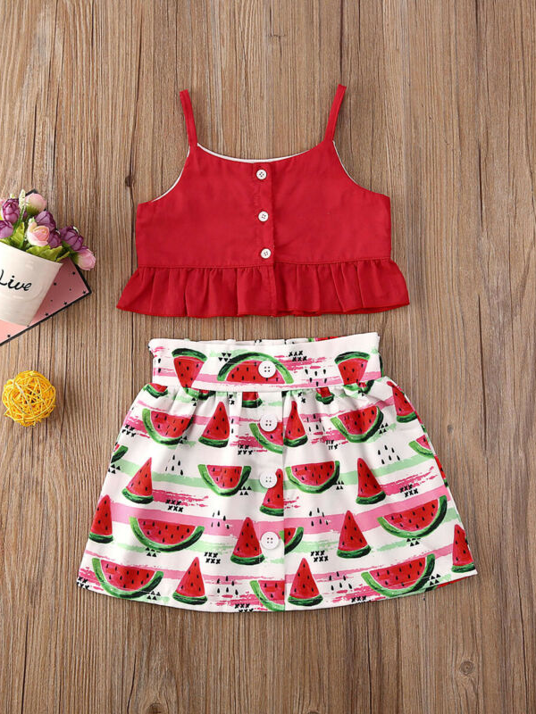 Girls Watermelon Spring Ruffle Top and Skirt Set