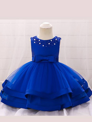 Baby dress features beautiful beads on the bodice, voile with satin hem-blue