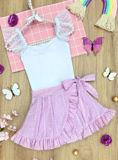 Girls Tulle Sleeve Ruched Top and Ruffled Wrap Skirt Set