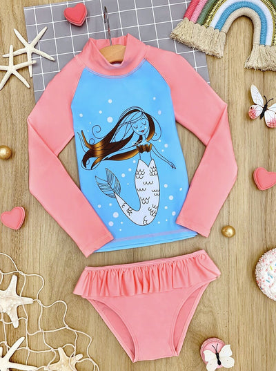 Girls Mermaid Ruffled Rash Guard Two Piece Swimsuit