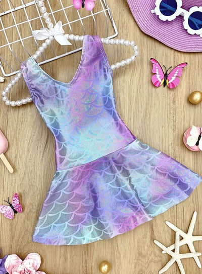 Girls Mermaid Scales Print Skirted One Piece Swimsuit