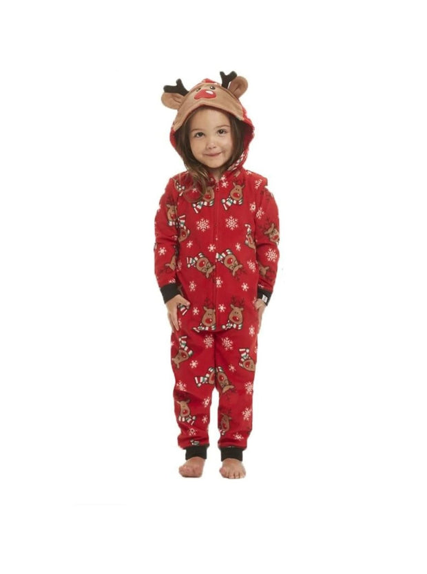 Family Christmas Holiday Reindeer Onesie Pajamas - 0-3 Months / Red - Mommy and Me