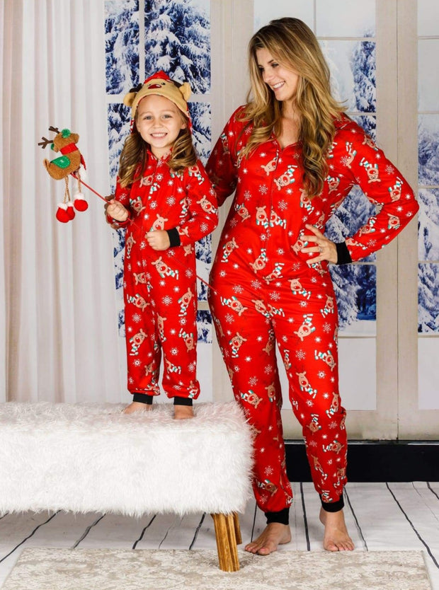 Family Christmas Holiday Reindeer Onesie Pajamas - Mommy and Me