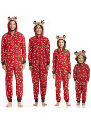 Family Christmas Holiday Reindeer Onesie Pajamas - 2T / Red - Mommy and Me