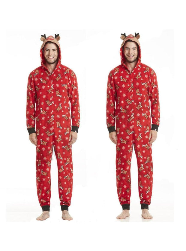 Family Christmas Holiday Reindeer Onesie Pajamas - Dad S / Red - Mommy and Me