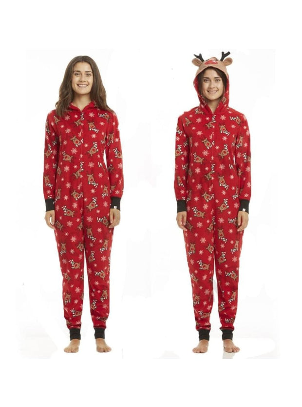 Family Christmas Holiday Reindeer Onesie Pajamas - Mom S / Red - Mommy and Me