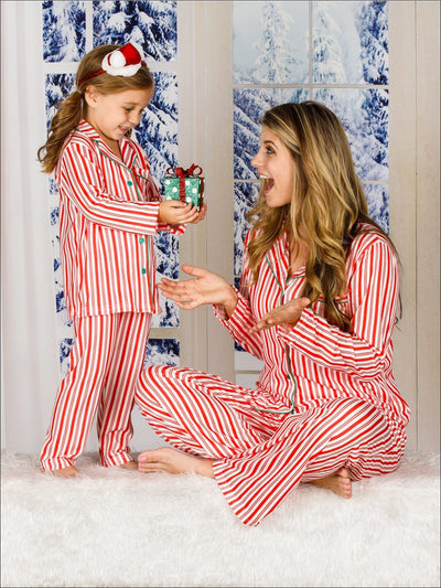 Family Christmas Holiday Stripe Pajamas - Mommy and Me