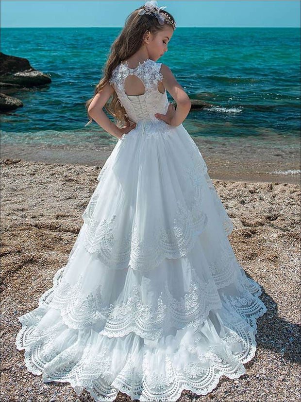 Fancy Flower Girl Tiered Ruffled Ball Gown - Girls Gowns