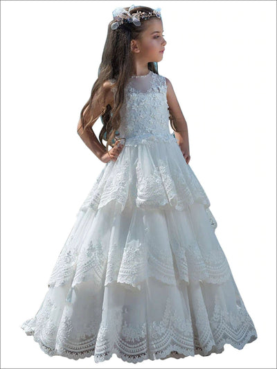 Fancy Flower Girl Tiered Ruffled Ball Gown - White / 2T - Girls Gowns