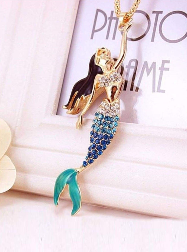 Fashion Blue Crystal Mermaid Necklace - Blue - Girls Halloween Costume
