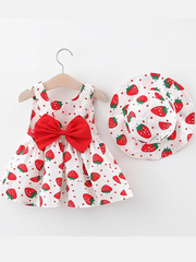 Baby dress has an adorable strawberry print and a large bow at the back and comes with a matching hat red