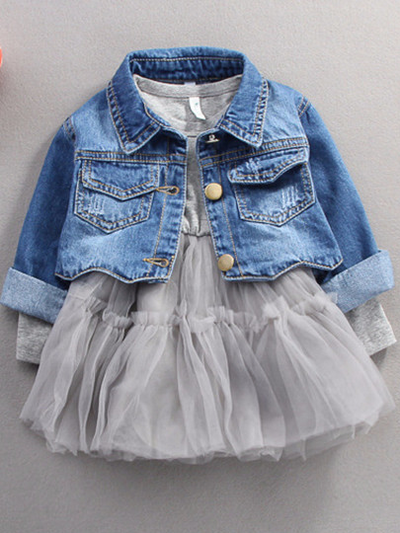 Baby tutu dress and denim jacket grey