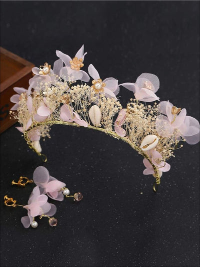 Flower & Seashell Mermaid Inspired Halo Tiara & Earrings Set - Pink / One Size - Tiara