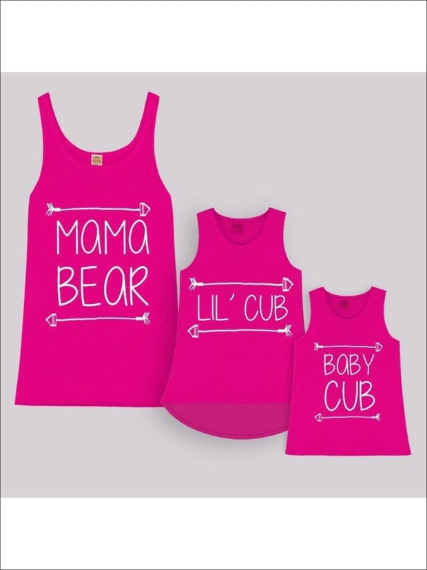 Fuchsia Mama Bear LilCub & Baby Cub Tops for Mom & Daughter - Fuchsia / 2T/3T - Girls Graphic Tank Top
