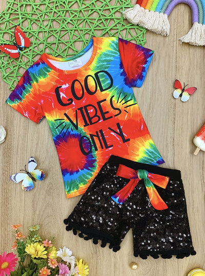 "Girls ""Good Vibes Online"" Tie Dye Top and Bow Sequin Shorts Set"